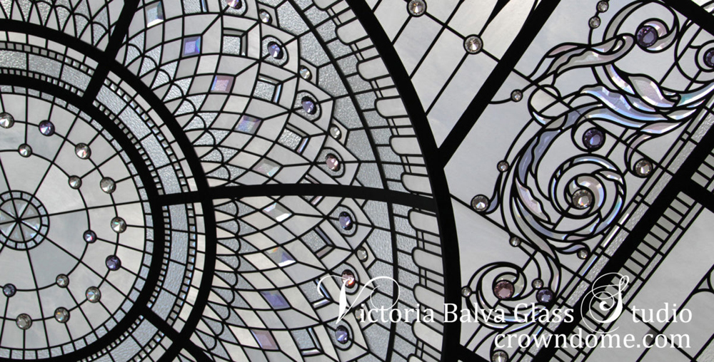 stained leaded glass dome skylight with custom lilac pink hand beveled glass and  lilac crystal jewels