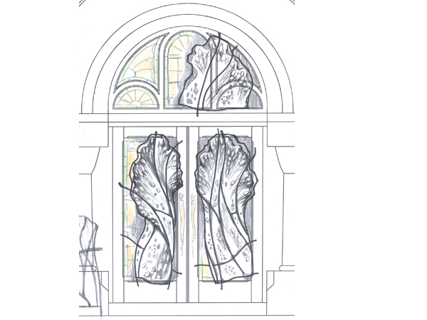 Sketch for Salon and Spa in Mintclair front entrance door