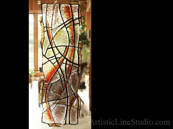 Contemporary style free shape stained, fused and leaded glass sculpture private residence right panel
