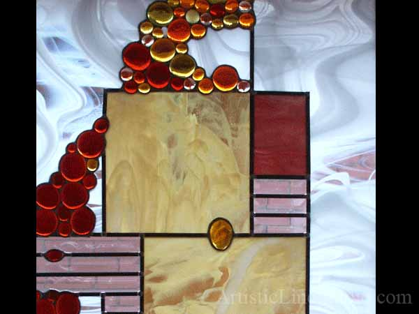 Contemporary decorative stained and leaded glass suspended panel for a staircase window to block unpleasant view adding privacy and beauty