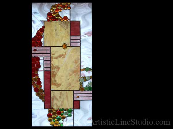 Contemporary decorative stained and leaded glass suspended panel for a staircase window with white opal and clear beveled glass