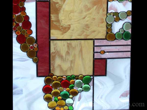 Stained and leaded glass suspended panel for a stairecase window to block unpleasant view  adding privacy and beauty