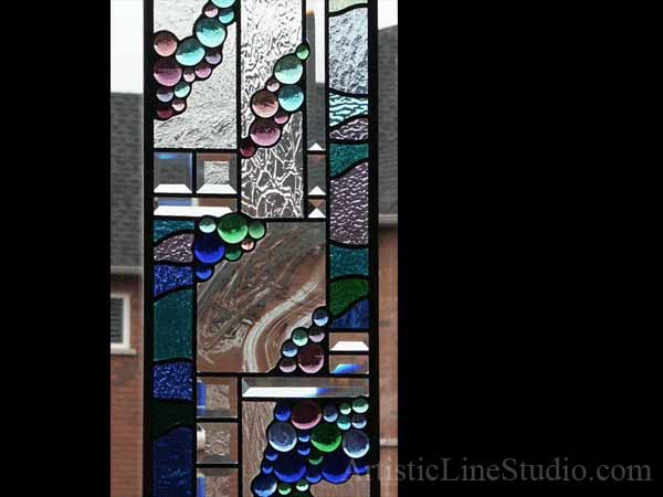 Abstract Stained Beveled And Leaded Gl Window Panel Withdark Blue Green Perple Nuggets