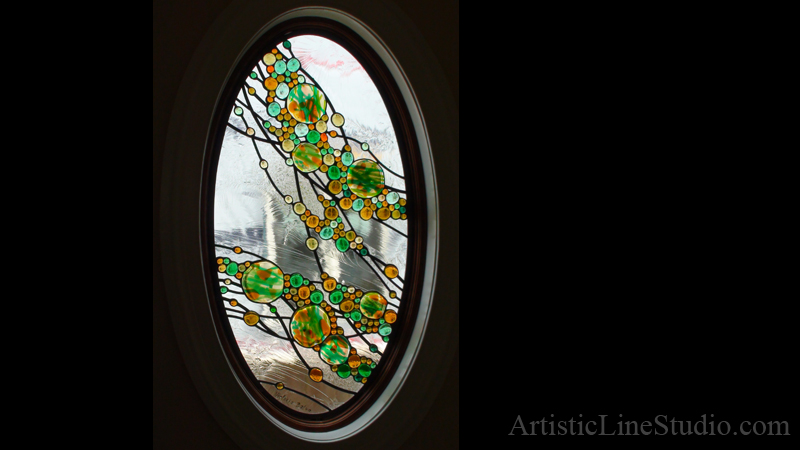 Completely new Contemporary design stained, fused and leaded glass oval window  YX91