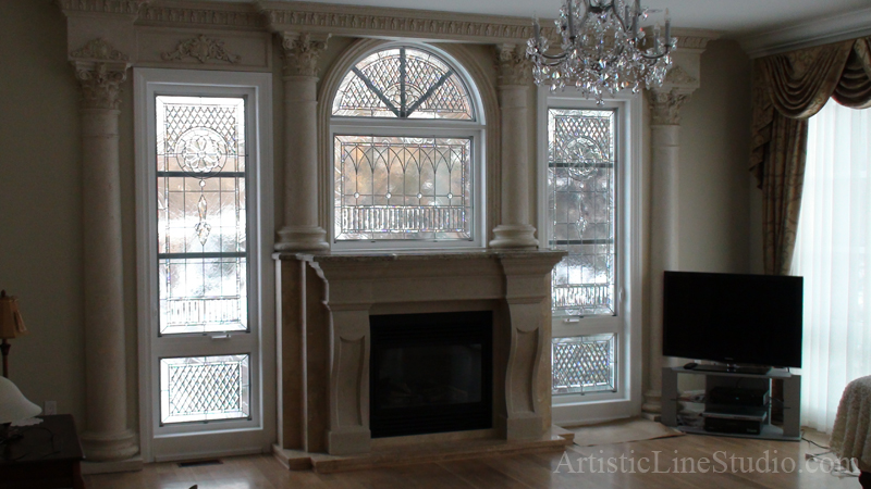 Classic traditional beveled and leaded glass windows with ...