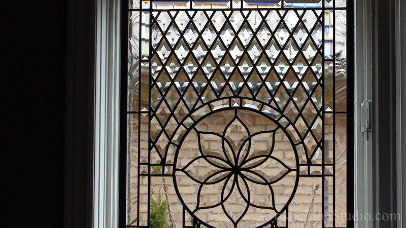 Classical Beveled And Leaded Glass Windows For Family Room