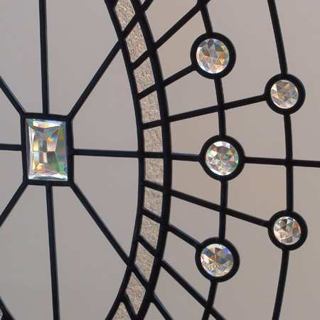 Excellent Traditional beveled and leaded glass windows with clear jewels for  YM03