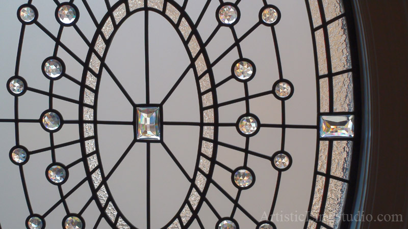 Traditional Leaded Glass Oval Window Detail With Clear Crystal Jewels,  Textured And Beveled Glasses