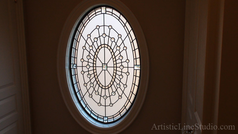 Perfect Traditional beveled and leaded glass windows with clear jewels for  JK12