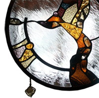 Stained glass suspended wall divider panel