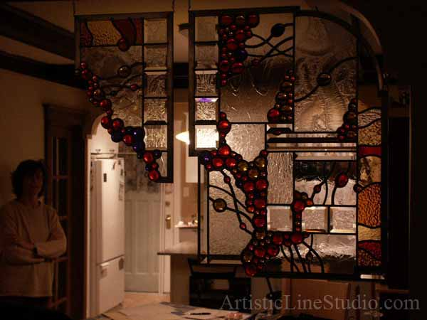 Stained and leaded glass free shape wall divider contemporary styling