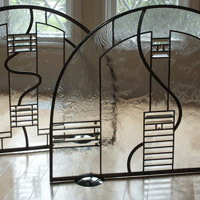 Leaded glass fireplace screens