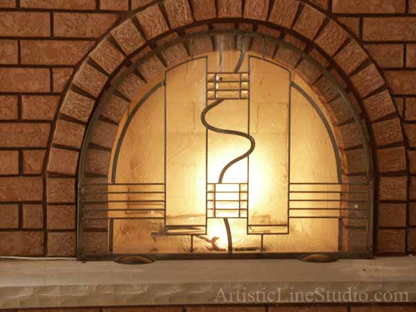 Famous Victoria Balva Glass Studio. Stained and leaded glass Fireplace  MS64